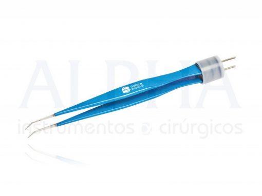 Pinça bipolar oftalmológica angulada 12cm - Ponta 0,5mm