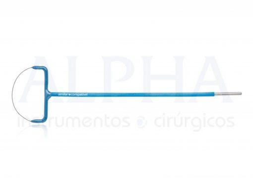Eletrodo ponta alça leep oval - Corpo ø 1,80mm x 120mm - Ponta de tungstênio ø 0,2mm x 20 x 4mm
