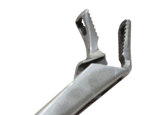 Pinça de micro laringe triangular angulada para cima